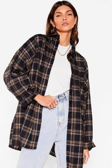 Brown Pocket Oversized Button Down Check Shirt