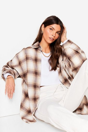 Cream Pocket Oversized Button Down Check Shirt