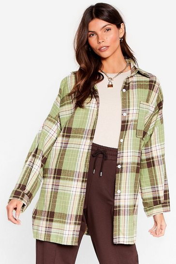 Green Pocket Oversized Button Down Check Shirt