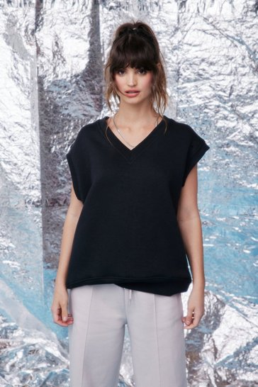 Black Sleeveless Oversized V Neck Sweatshirt