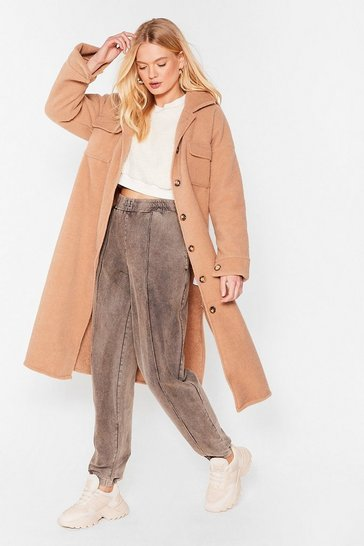 Beige Pocket the Past Longline Shirt Jacket