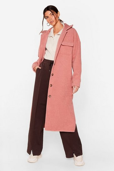 Pink Pocket the Past Longline Shirt Jacket