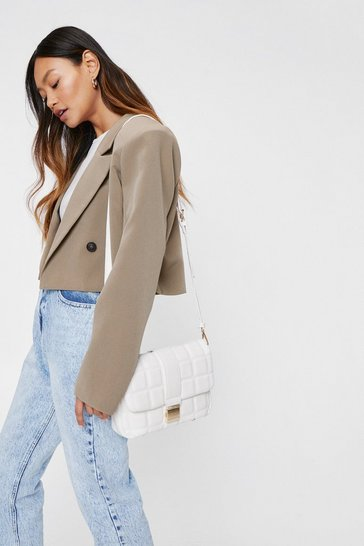 White WANT Quilted Faux Leather Crossbody Bag