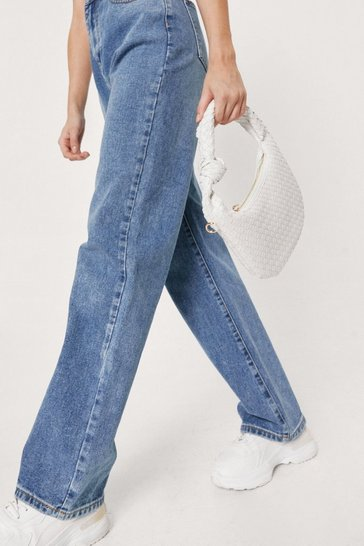 White WANT Woven Slouchy Knot Detail Shoulder Bag