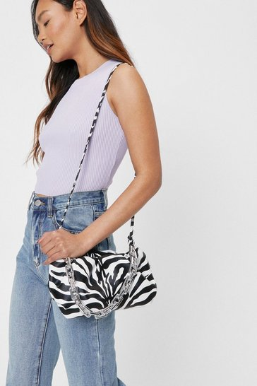 Black Zebra Print Faux Leather Chain Shoulder Bag