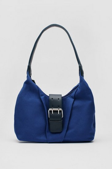 Denim-blue WANT Slouchy Buckle Closure Shoulder Bag