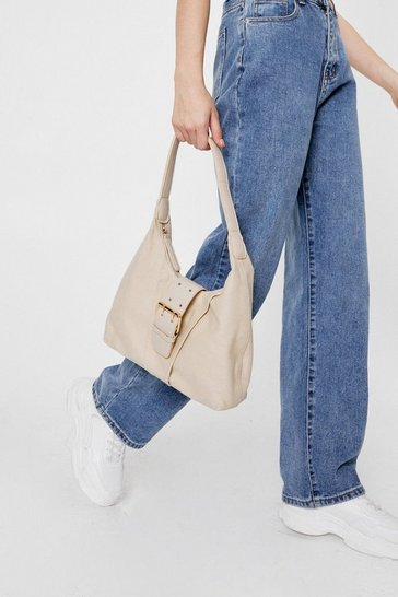 Oatmeal WANT Slouchy Buckle Closure Shoulder Bag