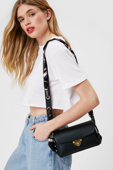 Black WANT Faux Leather Scarf Detail Mini Crossbody Bag
