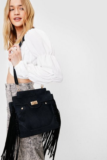Black Immi Suede Fringe Edged Cross Body Bag