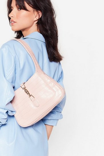 Baby pink WANT Faux Leather Croc Lock Strap Shoulder Bag