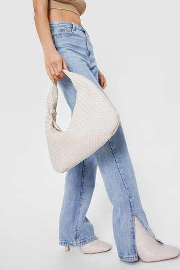 Stone Woven Slouchy Shoulder Bag