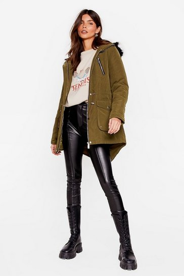 Khaki You're Covered Relaxed Longline Parka Coat