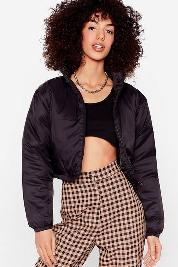 Black Cropped Zip Up Padded Jacket