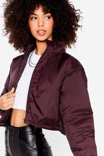 Burgundy Funnel of Love Cropped Padded Jacket