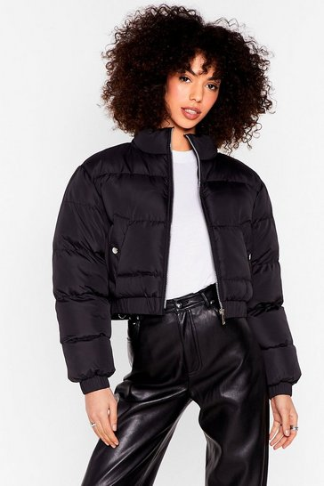 Black Cover Your Back Cropped Padded Jacket