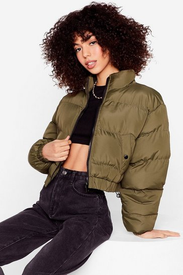 Khaki Cover Your Back Cropped Padded Jacket