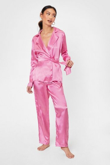 Pink Ready for Bed Petite Satin Pants Pajama Set