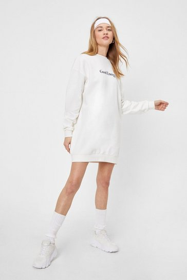 Cream Good Energy Graphic Sweatshirt Dress
