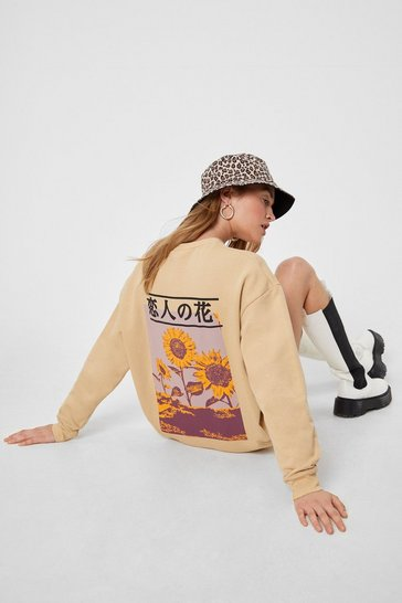 Natural Sunny Afternoon Graphic Sweatshirt Dress