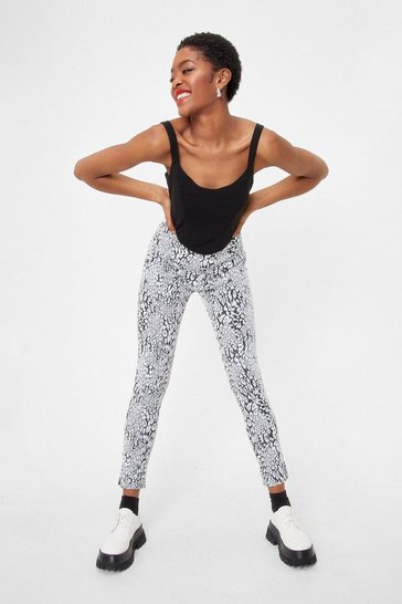 Mono Get Slit Together High-Waisted Animal Pants
