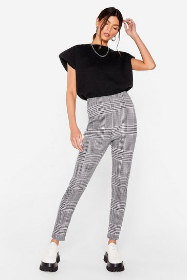 Mono We Houndstooth Love High-Waisted Pants