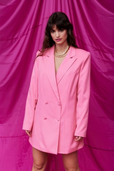 Pink Double Breasted Oversized Blazer Dress