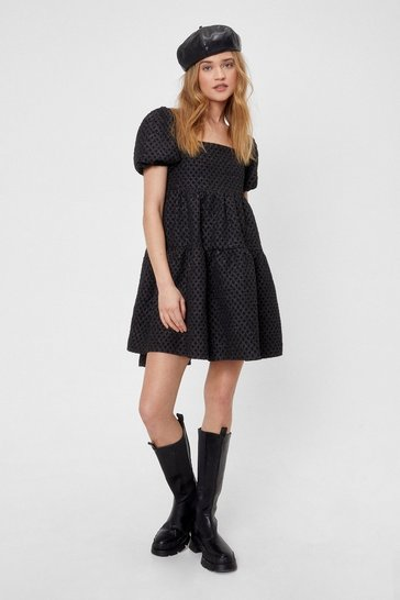 Black Don't Tie About It Puff Sleeve Mini Dress