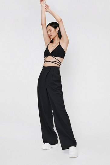 Black We're Business Partners Asymmetric Wide-Leg Pants