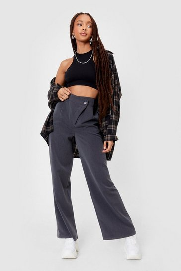 Grey We're Business Partners Asymmetric Wide-Leg Pants