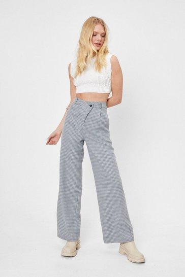Navy Routine Check Asymmetric Wide-Leg Pants