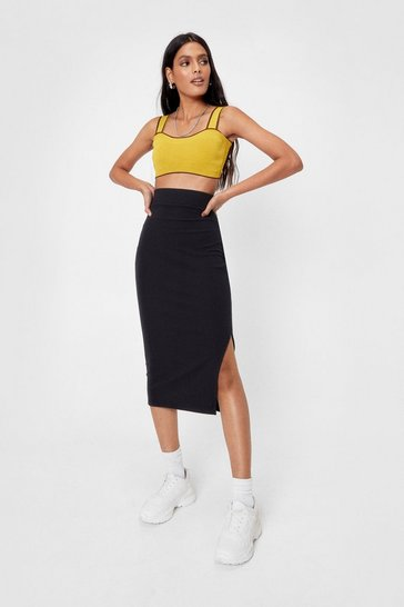 Black Side Slit Ribbed Midi Skirt