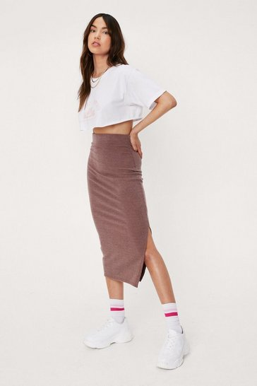Chocolate Recycled Ribbed Slit Midi Skirt