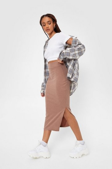 Light brown Take Slit or Leave Slit Ribbed Midi Skirt