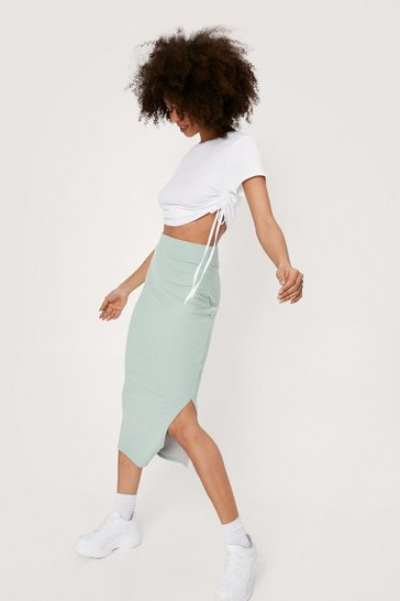 Sage Side Slit Ribbed Midi Skirt