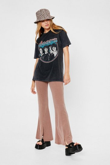 Chocolate Ribbed High Waisted Slit Flare Pants