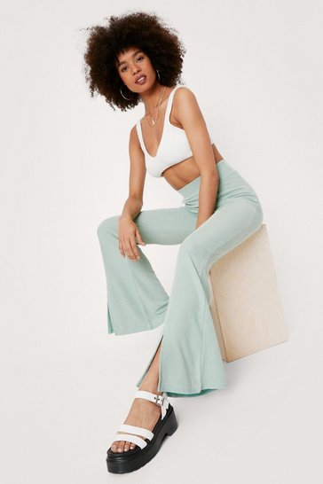 Sage Recycled Ribbed Slit Flare Pants