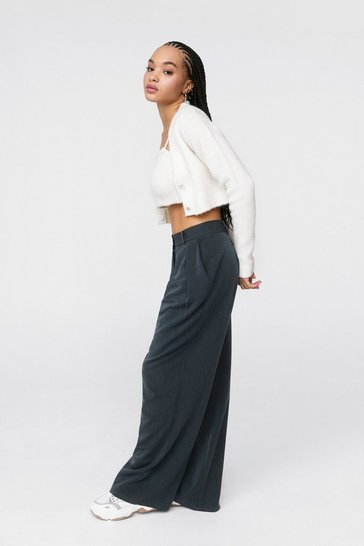Grey The Pleat is On High-Waisted Wide-Leg Pants