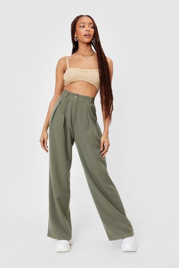 Khaki The Pleat is On High-Waisted Wide-Leg Pants