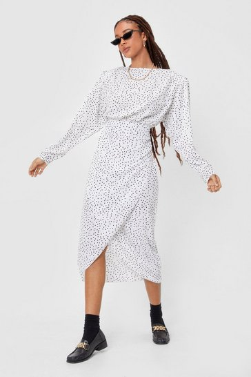 White If I Ain't Spot You Shoulder Pad Midi Dress