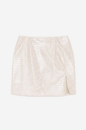 Cream Plus Size Vinyl Croc Mini Skirt