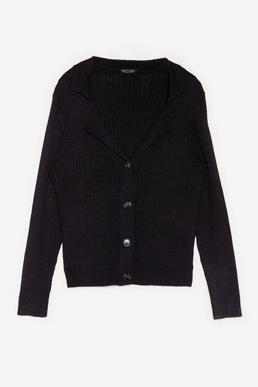 Black Plus Size Ribbed Knit Button Down Cardigan
