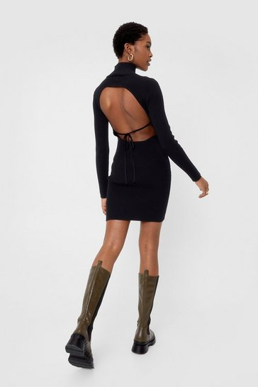 Black Knitted Open Back High Neck Mini Dress