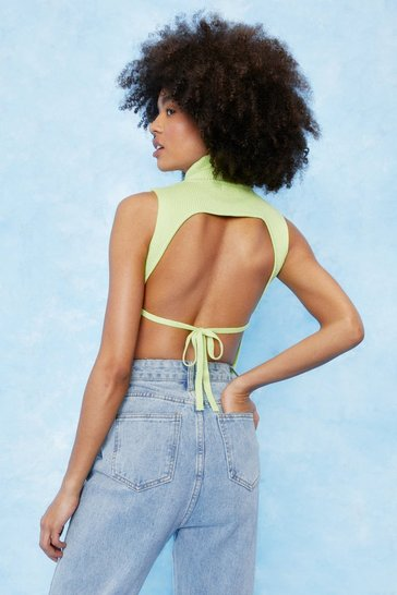 Lime Sleeveless High Neck Backless Knit Top