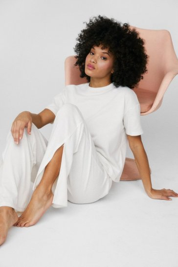 Cream T-Shirt And Split Hem Wide Leg Trousers Set