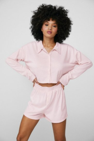 Pink Jersey Shirt and High Waisted Shorts Lounge Set