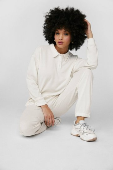 Cream What's the Brush Sweater and Joggers Lounge Set