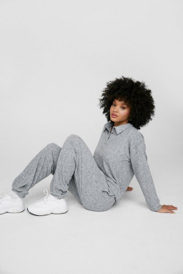 Grey What's the Brush Sweater and Joggers Lounge Set