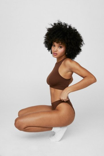 Chestnut Seamless Night Ribbed Racerback Bralette and Panty Set