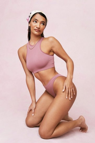 Mauve Seamless Night Ribbed Racerback Bralette and Panty Set
