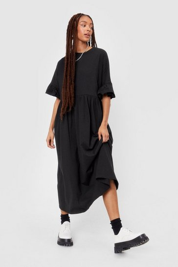 Black Frill Sleeve Oversized Midi Dress